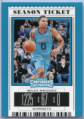 Miles Bridges Season Ticket card No. 43 Charlotte Hornets 2019 Contenders Draft Picks basketball