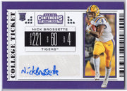 Nick Brossette Autographed Rookie Card 2019 Panini Contenders Draft Picks