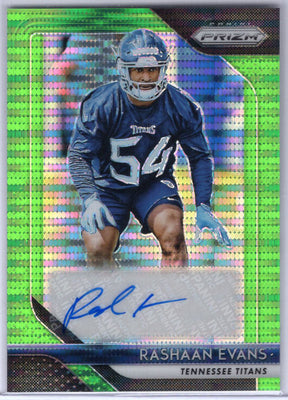 Rashaan Evans autograph rookie card green pulsar 2018 Prizm Football No. RA-RE