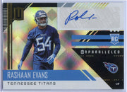 2018 Panini Unparalleled Football Rashaan Evans autograph rookie card No. 240