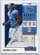 Rashaan Evans autograph rookie card 2018 Contenders Football No. 255