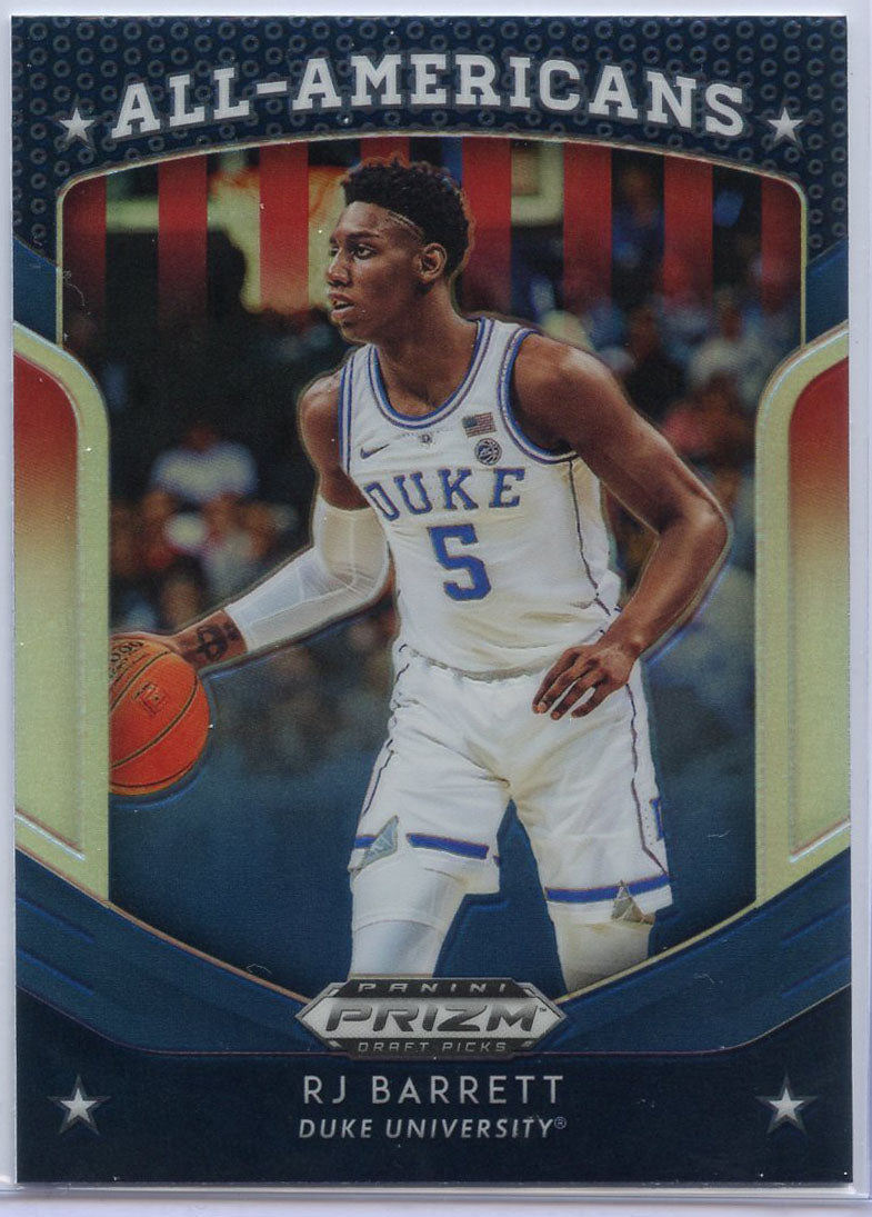 2019 Prizm Draft Picks All-Americans Prizm RJ Barrett Rookie Card #62 Duke
