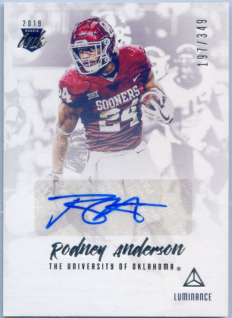 Rodney Anderson autograph rookie card No. RI-RA 2019 Luminance Football Rookie Ink