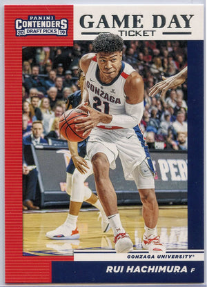 Rui Hachimura Game Day Ticket rookie card No. 11 Gonzaga