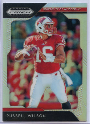 2019 Panini Prizm Draft Picks Football SILVER Russell Wilson card #83 Wisconsin Badgers QB