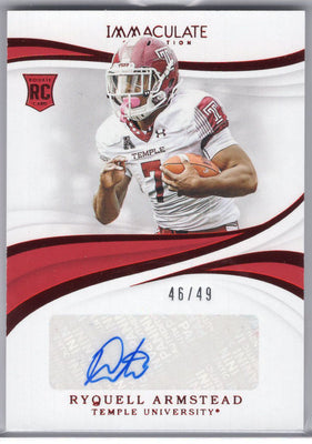 Ryquell Armstead autograph rookie card No. 79 2019 Immaculate Collection Collegiate Temple Owls