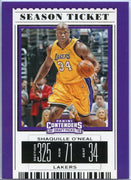 Shaquille O'Neal Season Ticket card number 47 LA Lakers 2019 Contenders Draft Picks