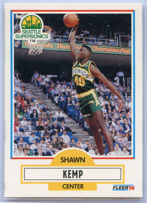 1990 FLEER Basketball #178 Shawn Kemp Card Seattle Supersonics Center