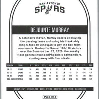 2020-21 Panini NBA HOOPS Basketball Dejounte Murray Card number 172 Spurs