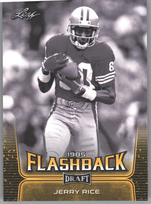 2020 Leaf Draft Football 1985 Flashback Gold Parallel Jerry Rice Card #99