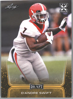 D'Andre Swift Rookie Card Gold Parallel #10 Running Back 2020 Leaf Draft Football UGA Bulldogs