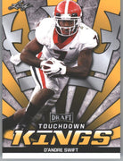2020 Leaf Draft Football Gold Parallel D'Andre Swift Touchdown Kings Rookie Card #78