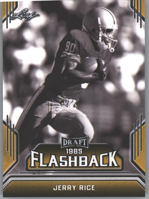 2019 Leaf Draft Football Jerry Rice Gold Parallel FLASHBACK 1985 #7 card 49ers