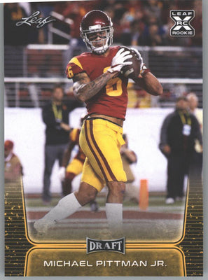 2020 Leaf Draft Football Gold Parallel Michael Pittman Jr Rookie Card #49