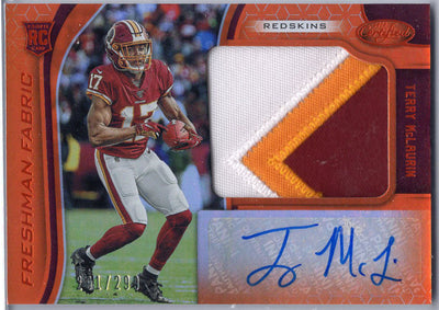 Terry McLaurin Rookie Patch Auto 2019 Certified Football card #232 Washington Redskins