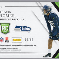 2019 Majestic Football No. 174 Travis Homer autograph rookie card Seattle Seahawks