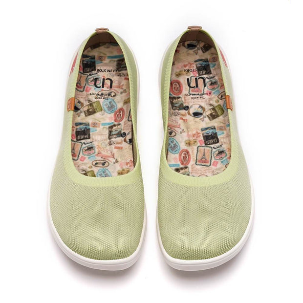 UIN Footwear Kid Valencia Knitted Light Green Kid Canvas loafers