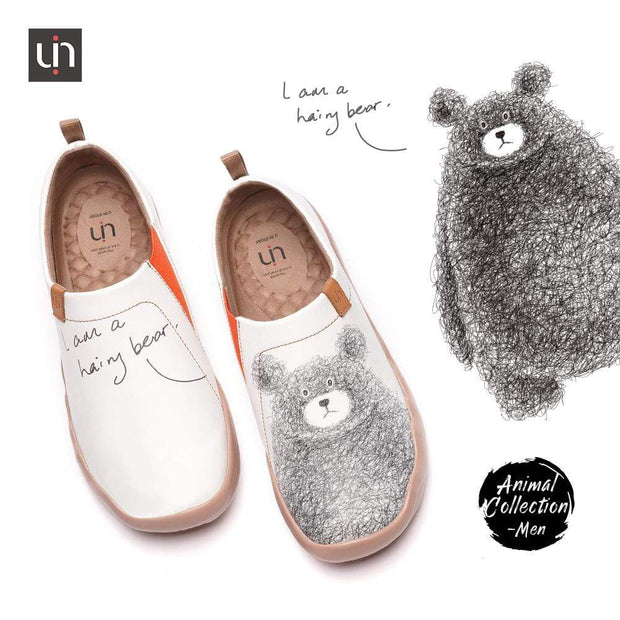 UIN Footwear Men -Be with You- Men Bear Painted Flats Canvas loafers