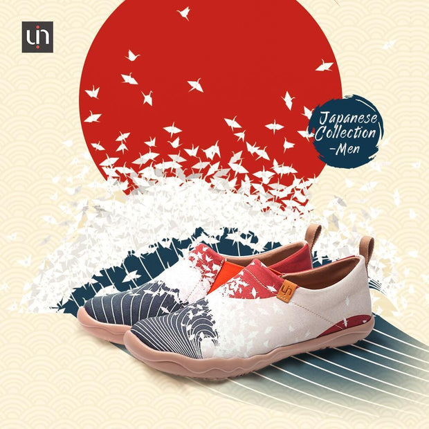 UIN Footwear Men -Follow the Waves- Men Art Painted Canvas Shoes Canvas loafers