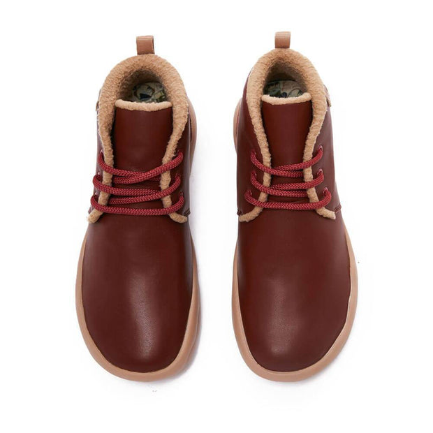 UIN Footwear Men (Pre-sale) Bilbao Burgundy Split Leather Lace-up Boots Men Canvas loafers