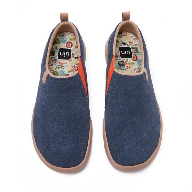 UIN Footwear Men (Pre-sale) Toledo II Deep Blue Cow Suede Men Canvas loafers
