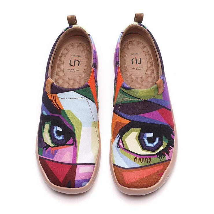 UIN Footwear Women -Looking at You- Multicolored Art Female Slip-ons Canvas loafers