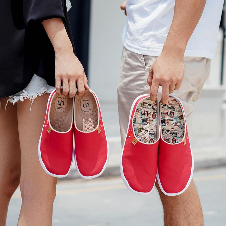 UIN Footwear Women Marbella Red Slipper-US Local Delivery Canvas loafers