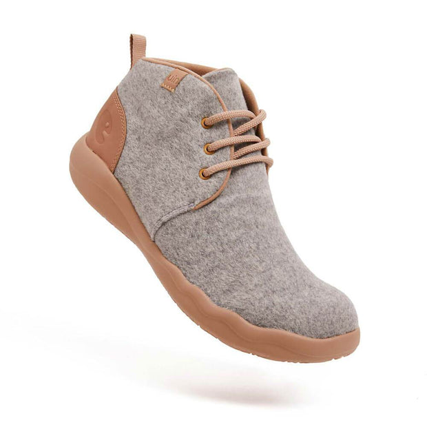 UIN Footwear Women (Pre-sale) Bilbao Light Grey Wool Lace-up Boots Women Canvas loafers