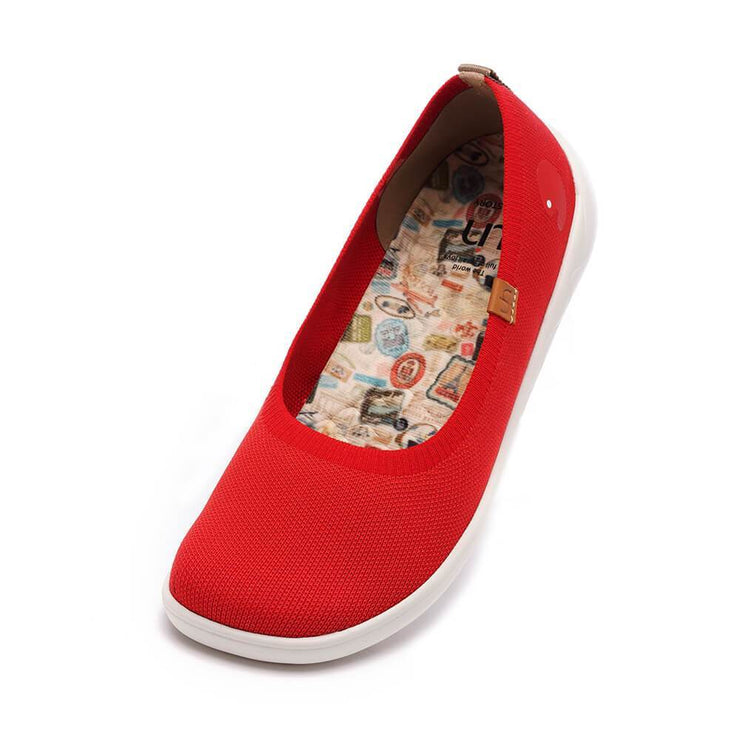 UIN Footwear Women Valencia Knitted Red Canvas loafers