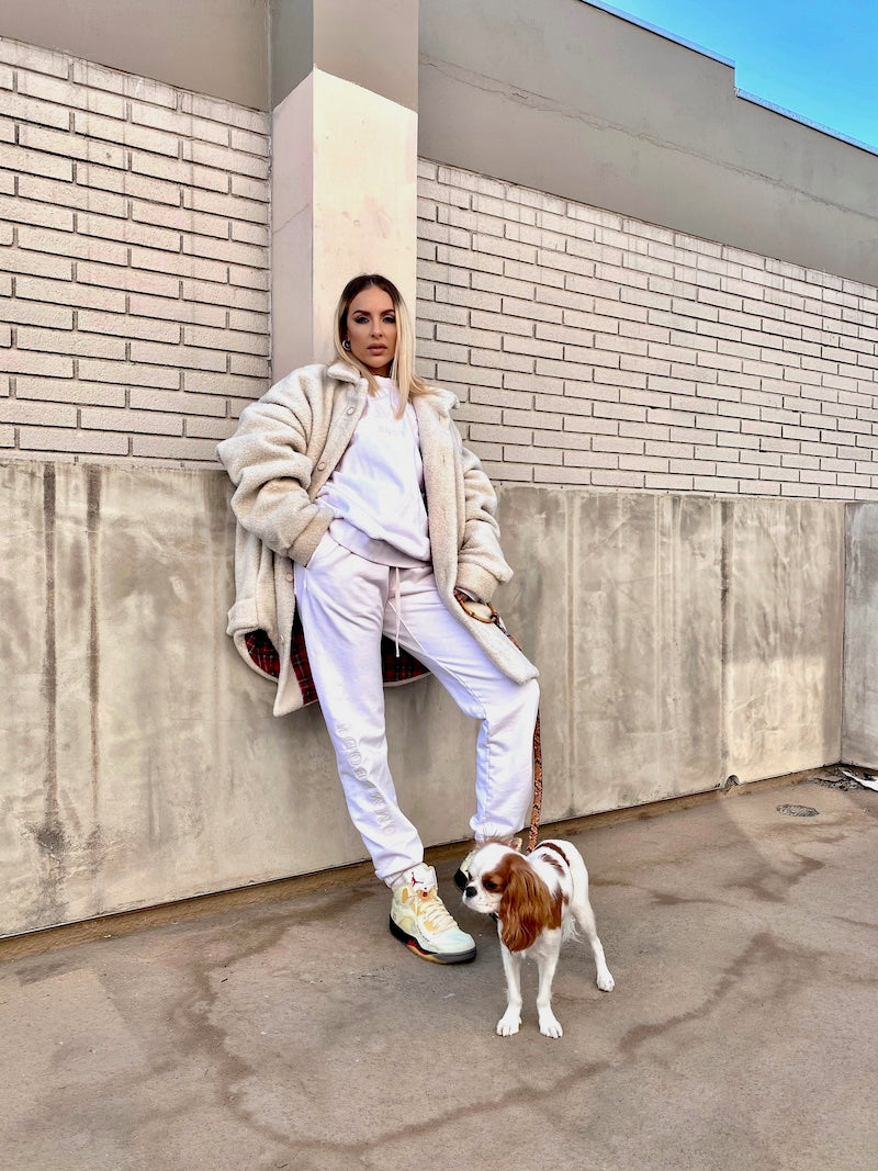 Maeve Reilly and her dog in Shaya Pet's Susan Leash in Embossed Yellow & Black Leather