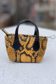 Clean Up Purse in Embossed Yellow & Black Leather by Shaya Pets.