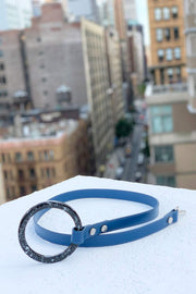 Royal blue dog leash with acrylic handle. Made in Italy.