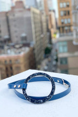 Shaya pets Susan Leash in cobalt blue leather. Made in Italy.