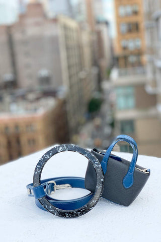 Blue, durable, pet accessories. Hand crafted with leather in Italy.