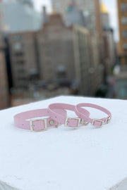 Durable dog collar in blush pink by Shaya Pets.