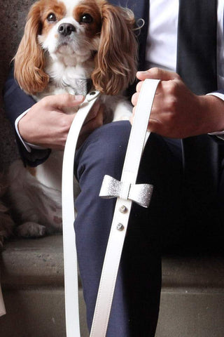 Leather dog leash with bow for a wedding.