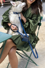 Blue luxury pet accessories that are durable and fashion forward.