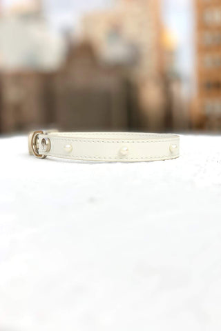 Pearl studded white leather dog collar. Perfect collar for weddings.