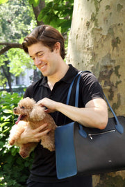 Blue dog bag for men. Made in Italy with premium leather.