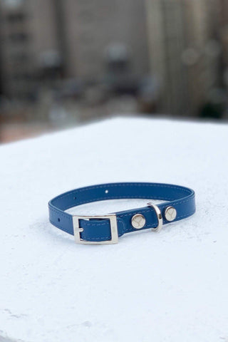 Shaya Pets Taylor Collar in Cobalt Blue. Made in Italy.