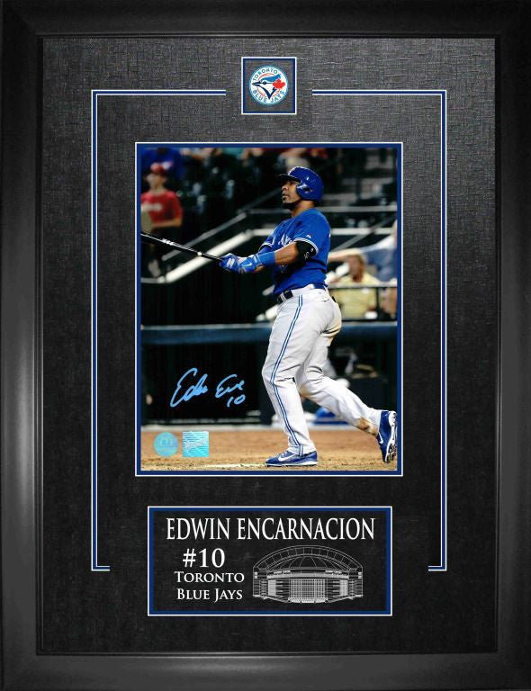 "Edwin Encarnacion 8""x10"" Signed Photo with Deluxe Frame - Home Run Swing"