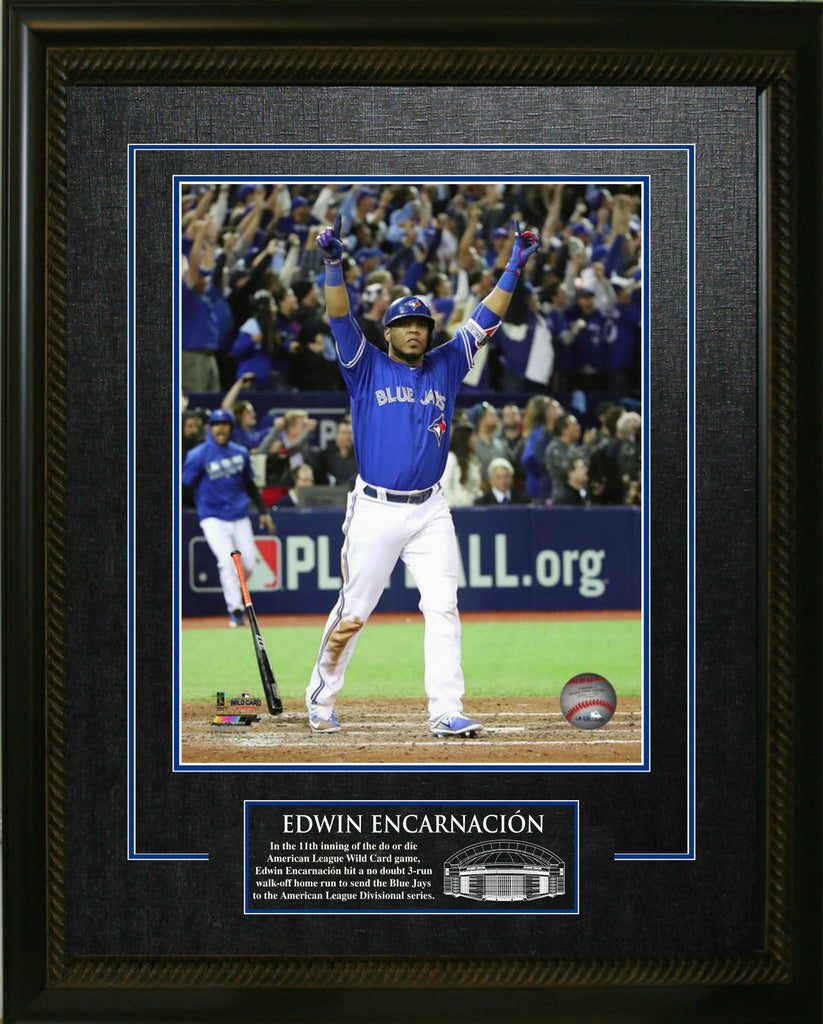 Bat Flip, Meet Bat Drop. Sports Memorabilia Frame Featuring Edwin Encarnacion Toronto Blue Jays