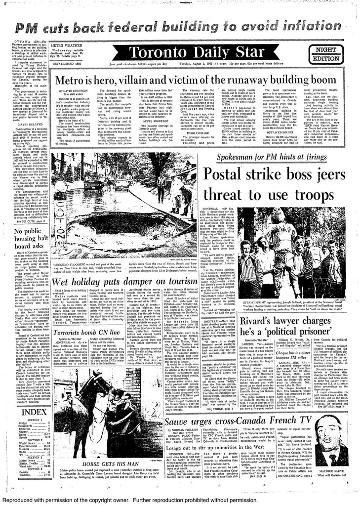 August 3, 1965 front page