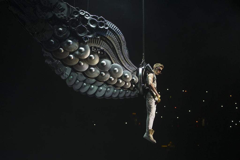 Justin Bieber wearing wings