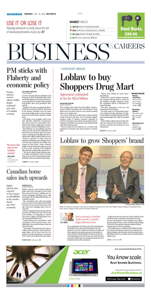 Toronto Star Business Section, July 16, 2013