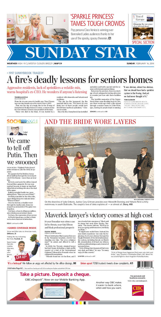 February 16, 2014 A1 page reprint