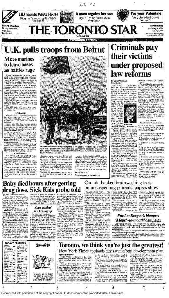 Front Page, February 8, 1984