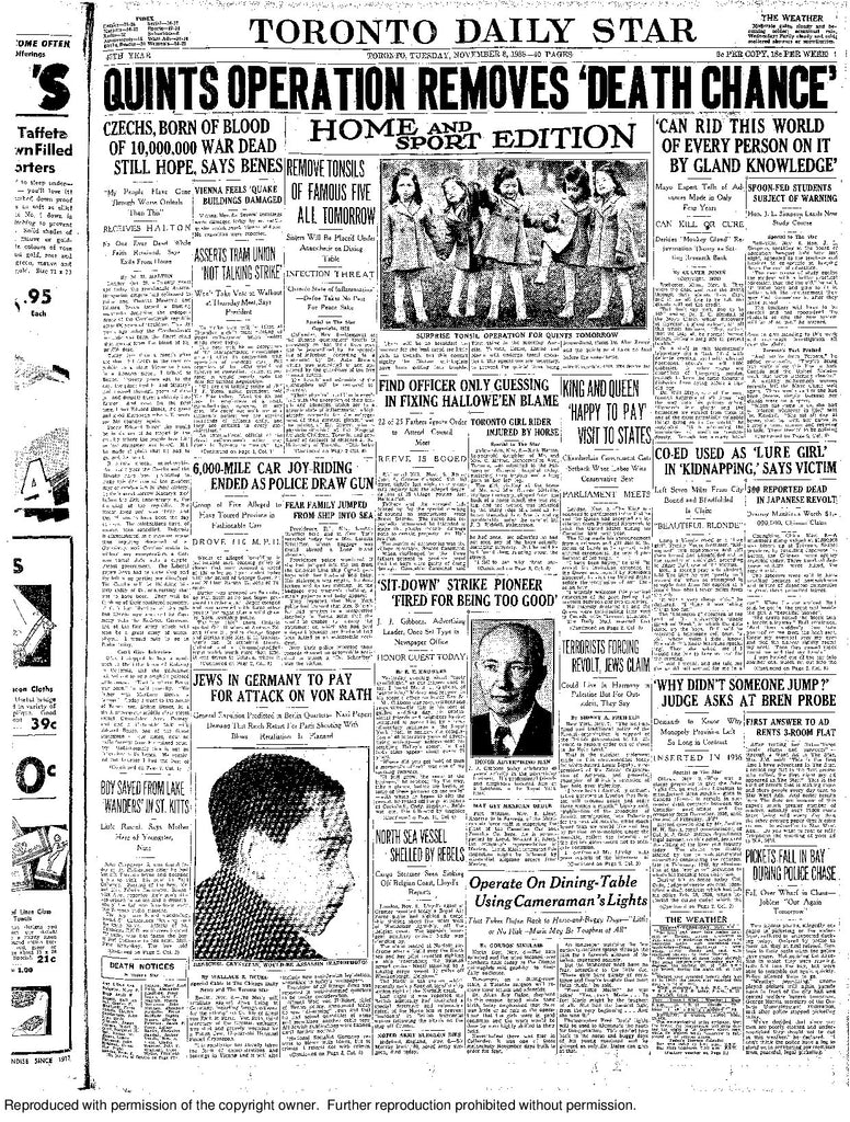 Front Page, November 8, 1938
