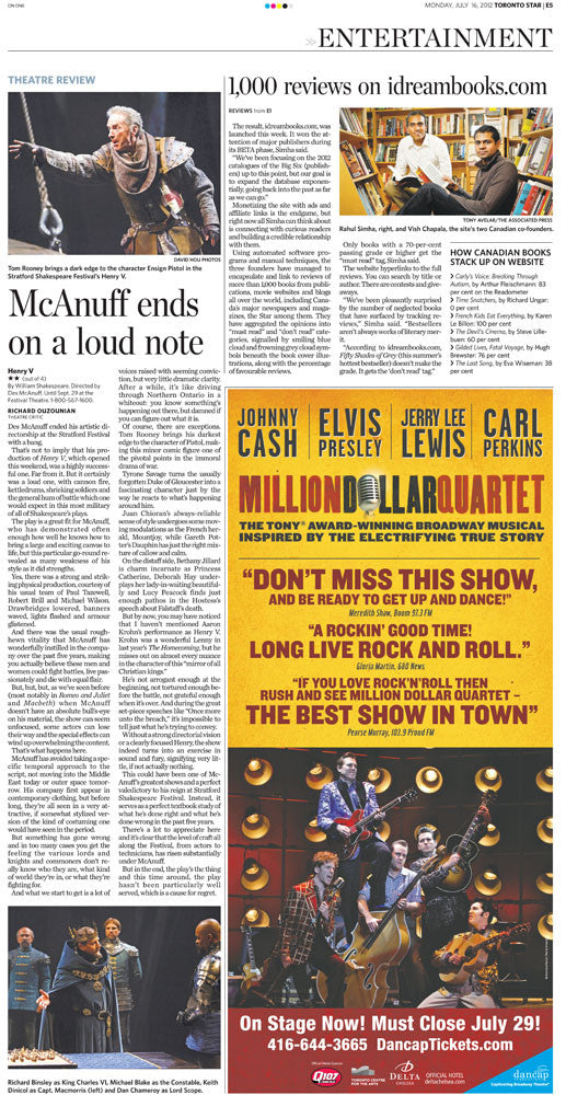Toronto Star E5 from July 16, 2012