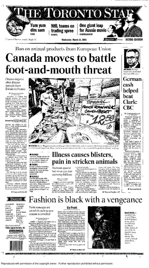 Front Page March 14 2001